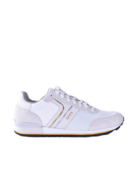Parkour Sneakers runner in pelle scamosciata - bianca BOSS | Scarpe | 50433661107