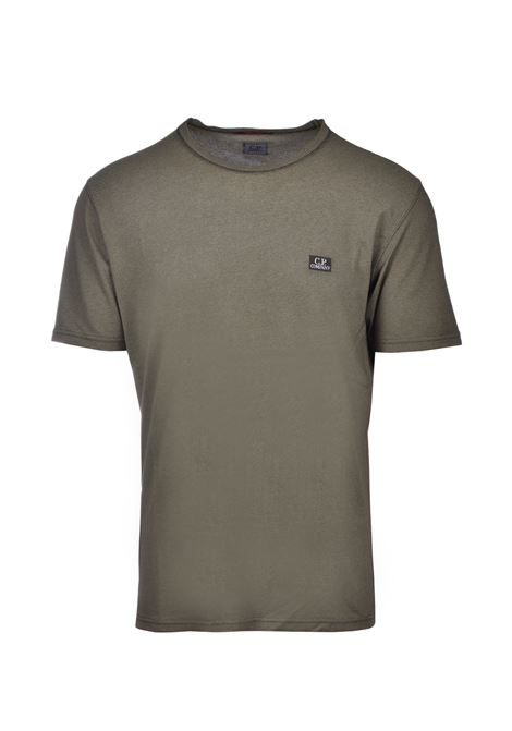 Half-sleeved T-shirt in cotton pique - olive green C.P. COMPANY | T-shirts | 08CMTS085A-000973G677