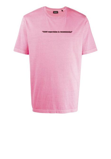 Neon t-shirt with Warning print DIESEL   T-shirts   00SEG4 0CAYW3AX