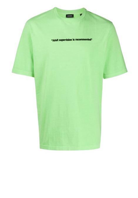 Neon t-shirt with Warning print DIESEL   T-shirts   00SEG4 0CAYW5IL