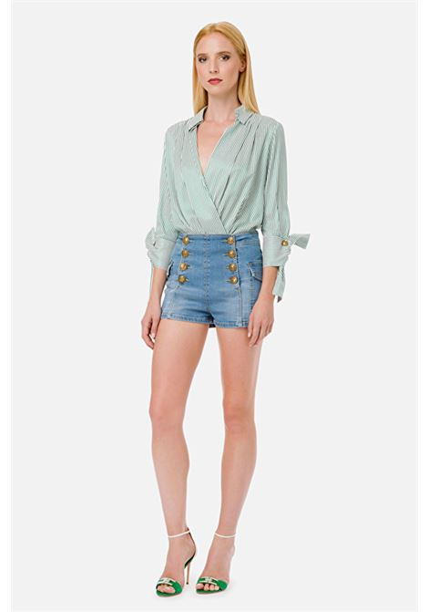 Striped bodysuit-style blouse ELISABETTA FRANCHI | Shirts | CB10001E2X14