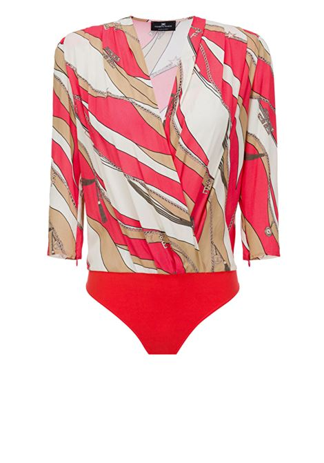 Bodysuit-style blouse with foulard print ELISABETTA FRANCHI | Shirts | CB11002E2Y73
