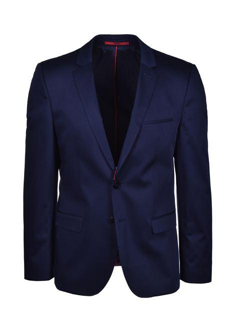 Regular-fit suit in stretch-cotton satin - blue HUGO | Dresses | 50427397405