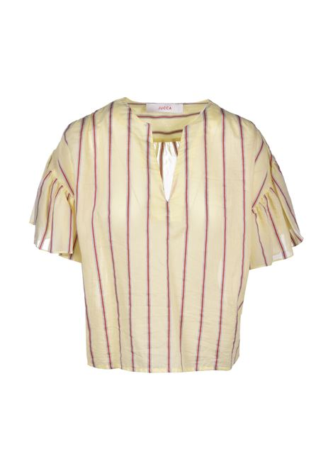 Striped blouse with flap sleeve - yellow JUCCA | Blouse | J31120311636