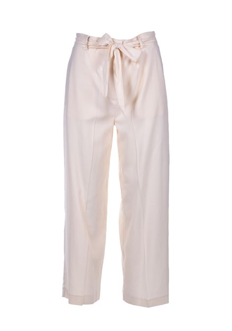 High waist trousers with belt - cream JUCCA | Trousers | J3114008045