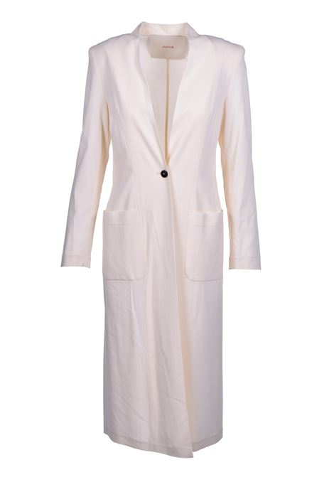 Long dust coat with pockets - cream JUCCA | Blazers | J3116001045