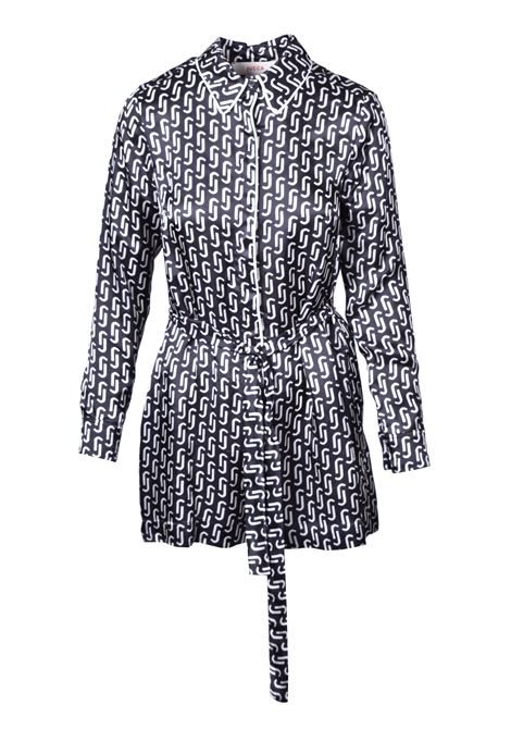 short micro patterned jumpsuit - black / cream JUCCA | suits | J3117040/J2003