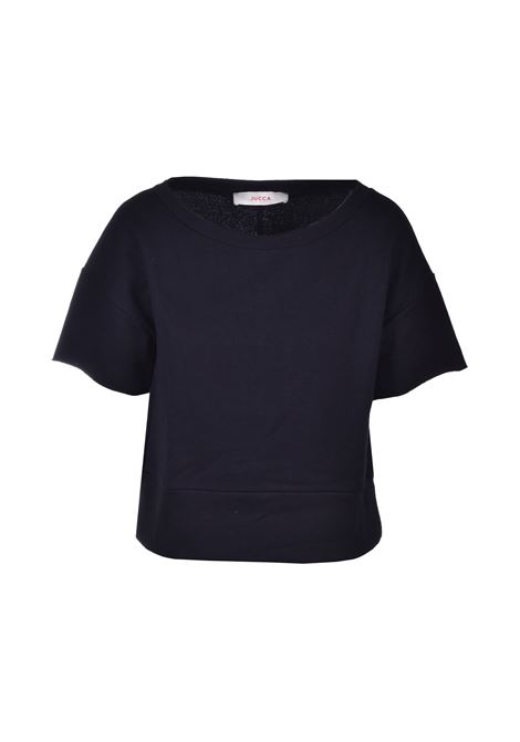 Short sweatshirt with wide neck - black JUCCA | Sweatshirt | J3118029003