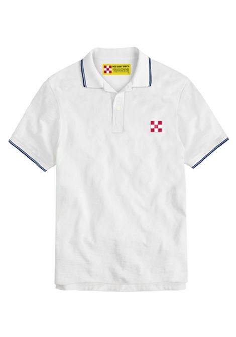 Polo in piquet con logo a scacchi - bianco MC2 SAINT BARTH | Polo | BEVERLY HILLS01