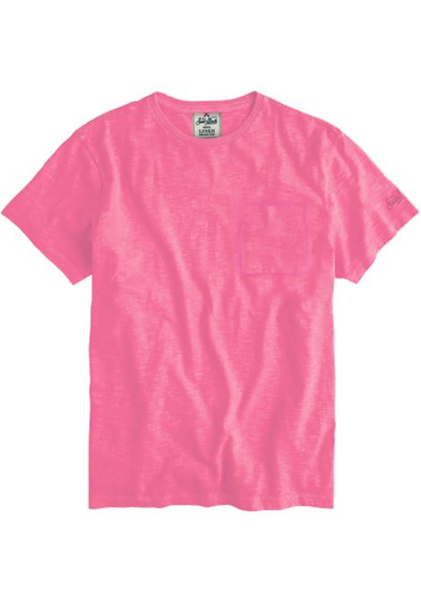t-shirt in lino con taschino - rosa MC2 SAINT BARTH | T-shirt | ECSTASEA21