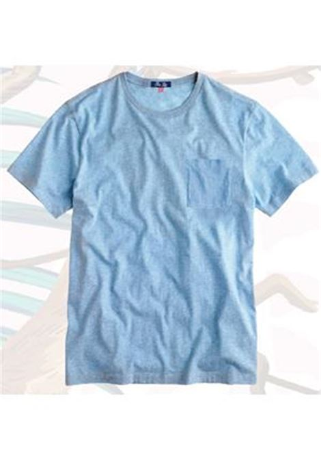 T-shirt in lino con taschino - light blue MC2 SAINT BARTH | T-shirt | ECSTASEA31