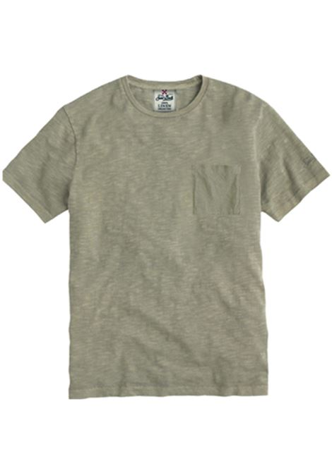 t-shirt in lino con taschino - verde militare MC2 SAINT BARTH | T-shirt | ECSTASEA52