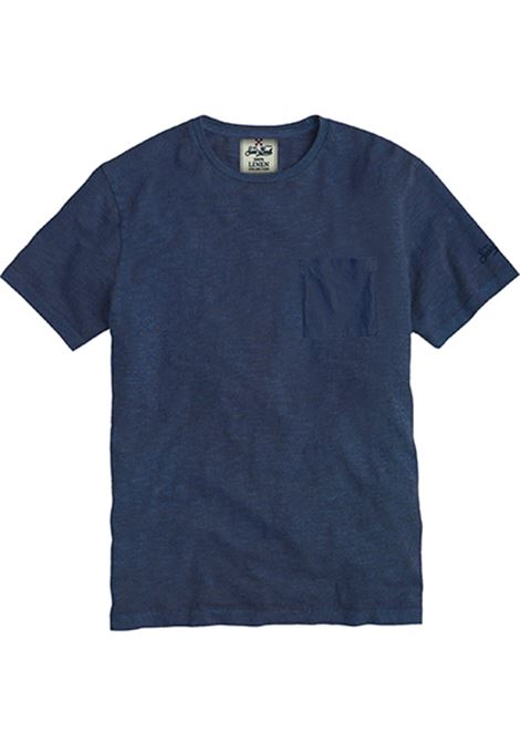 t-shirt in lino con taschino - blue navy MC2 SAINT BARTH | T-shirt | ECSTASEA61N