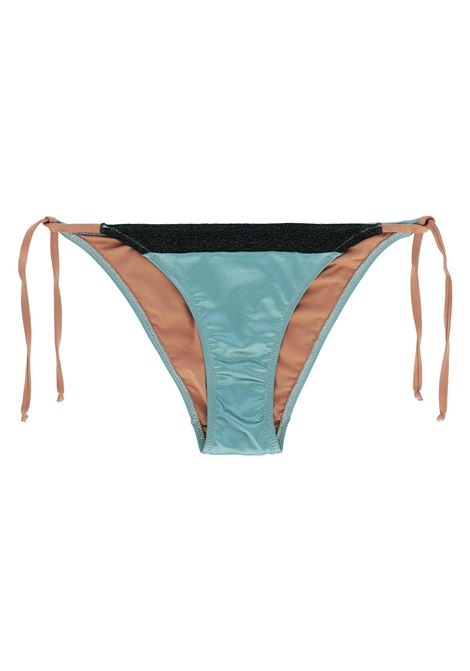 BRIEFS WITH SIDE STRAPS IN METALLIC MICROFIBRE - aquamarine MOMONI | Swimwear | MOBE013 51MO0763