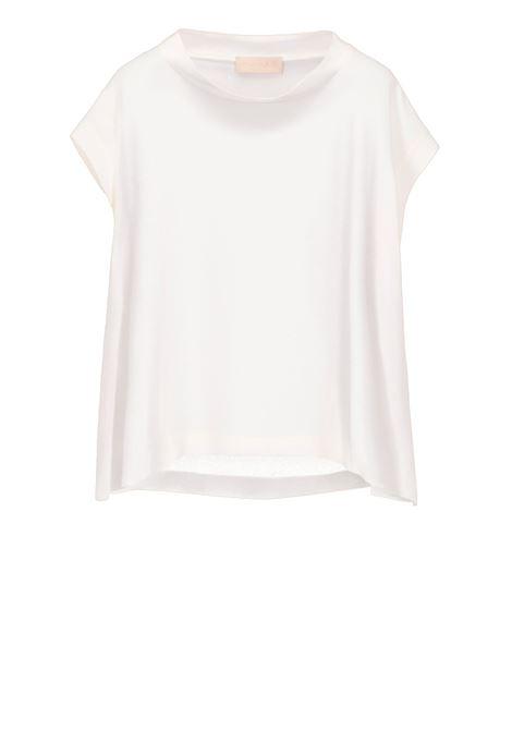 Sleeveless blouse in cream silk blend MOMONI | Blouse | MOBL004 04MO0040