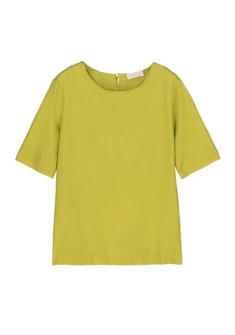 BLOUSE WITH SHORT SLEEVES IN SILK COTTON GREEN MOMONI | Blouse | MOBL007 05MO0760