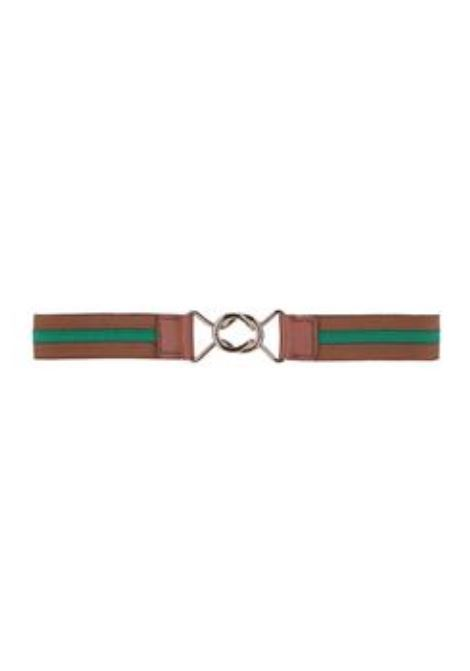 STRIPED ELASTIC BELT, GREEN AND TOBACCO MOMONI | Belt | MOBT003 65MO7564