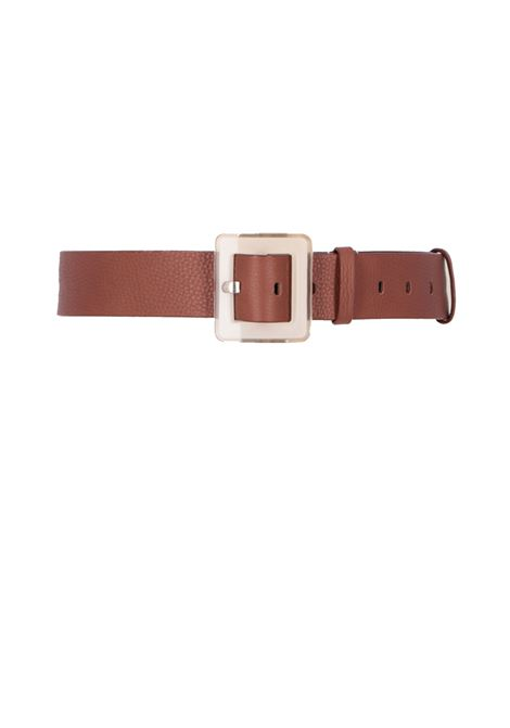 Wide leather belt with plastica buckle MOMONI | Belts | MOBT004 66MO0153