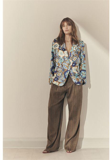 Single-breasted silk jacket with '70 flower print MOMONI | Blazers | MOJA001 01MO8564