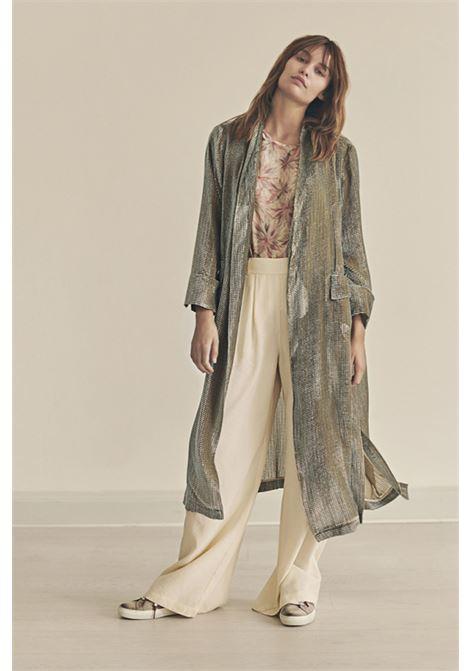 Long duster in devorè velvet with check pattern MOMONI | Blazers | MOJA007 25MO4081