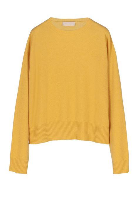 CASHMERE BLEND CREW NECK SWEATER, YELLOW MOMONI | Sweaters | MOKN001 38MO0299