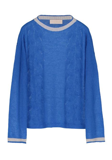 LIGHT MOHAIR CABLE SWEATER, ELECTRIC BLUE MOMONI   Sweaters   MOKN005 39MO0850