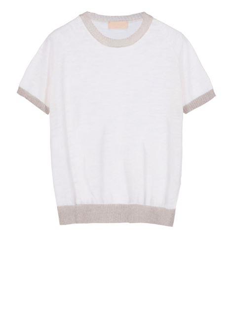 Linen short-sleeved crew neck sweater - milk MOMONI | Sweaters | MOKN008 41AMO0020