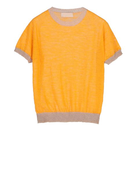 Linen short-sleeved t-shirt - yellow MOMONI | Sweaters | MOKN008 41AMO0260