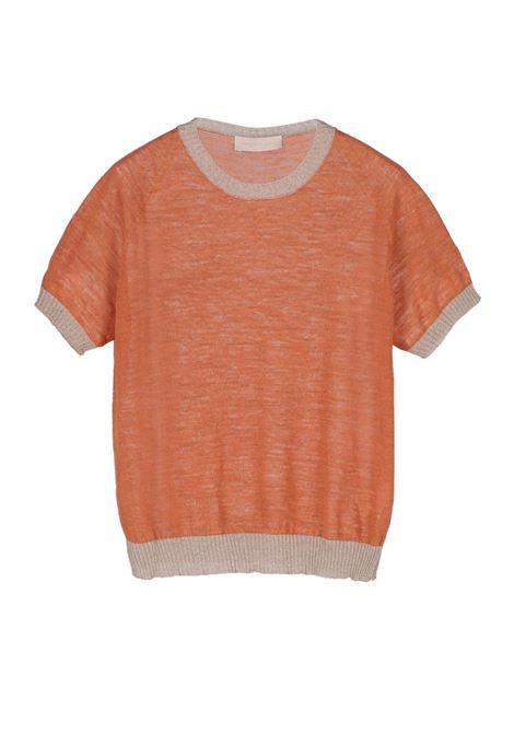 Linen short-sleeved crew neck sweater - orange MOMONI | Sweaters | MOKN008 41AMO0349
