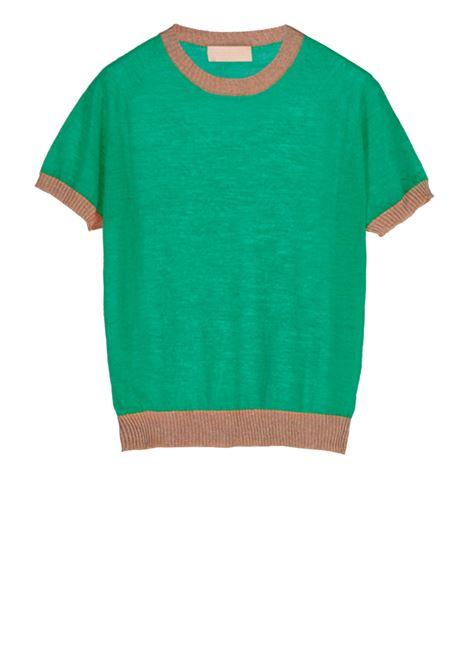 Linen short-sleeved crew neck sweater - green MOMONI | Sweaters | MOKN008 41AMO0728