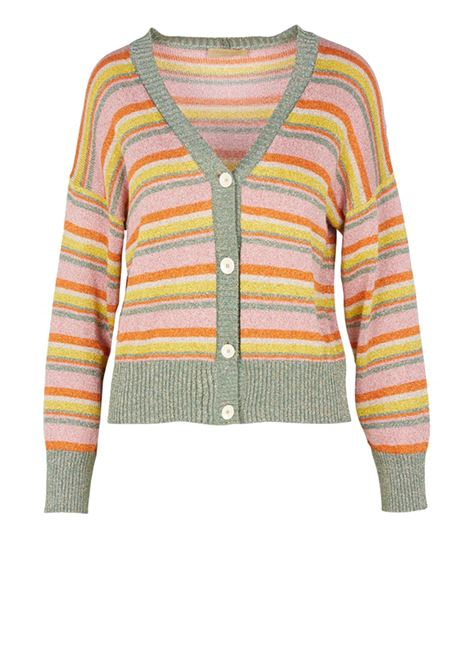 Short striped knitted cardigan with metallic multicolor fibers MOMONI | Sweaters | MOKN011 43MO4583