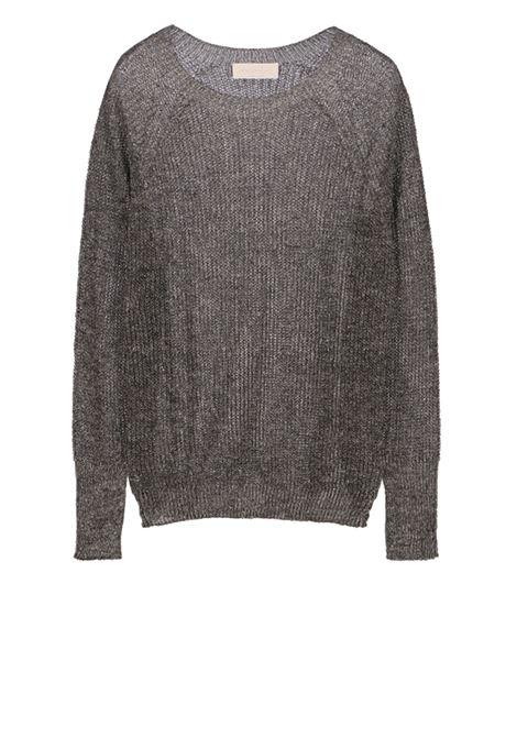 Linen long-sleeved crew neck sweater in lurex MOMONI   Sweaters   MOKN013 44MO0003