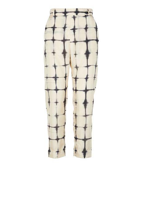Wide printed trousers in white silk blend MOMONI   Trousers   MOPA003 03MO1910