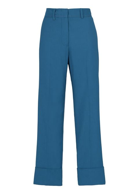 SLIM FIT TROUSERS WITH ELASTIC IN COOL BLUE WOOL MOMONI | Trousers | MOPA011 13MO0833