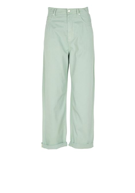 Wide trousers in Green gabardine MOMONI | Jeans | MOPA018 20MO0763