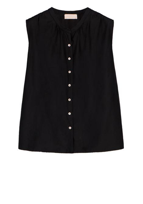 Sleeveless black cotton silk shirt MOMONI | Shirts | MOSH009 05MO0990