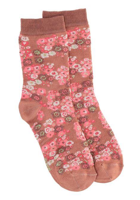 COTTON BLEND JACQUARD SOCKS WITH CLAY FLOWER PRINT MOMONI |  Stockings | MOSO001 52MO9095