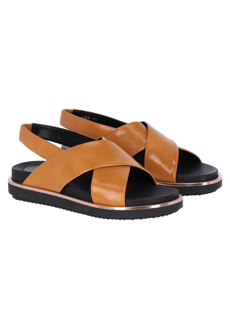 Flat leather sandals, ocher MOMONI | Sandals | MOSS001 67MO0135