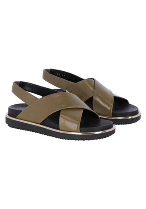 FLAT LEATHER SANDALS, KHAKI MOMONI | Sandals | MOSS001 67MO0740