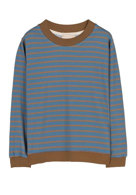 CREW NECK SWEATSHIRT IN STRIPED COTTON, LIGHT BLUE AND GREEN MOMONI | Sweatshirt | MOSW002 37MO7034