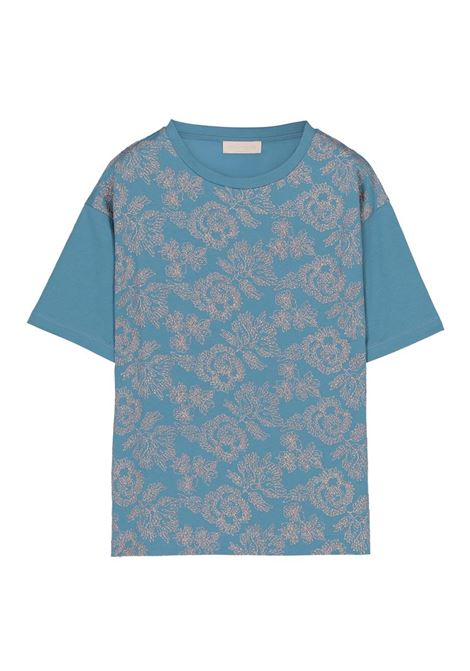 T-SHIRT OVERSIZE IN COTONE RICAMATA CON FILO LUREX MOMONI | T-shirt | MOTS006 34MO0780