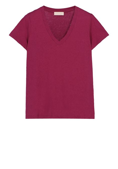 V-neck t-shirt in linen cotton jersey MOMONI | T-shirts | MOTS008 35MO0455