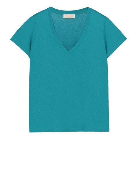 V-neck t-shirt in linen cotton jersey  MOMONI | T-shirts | MOTS008 35MO0770