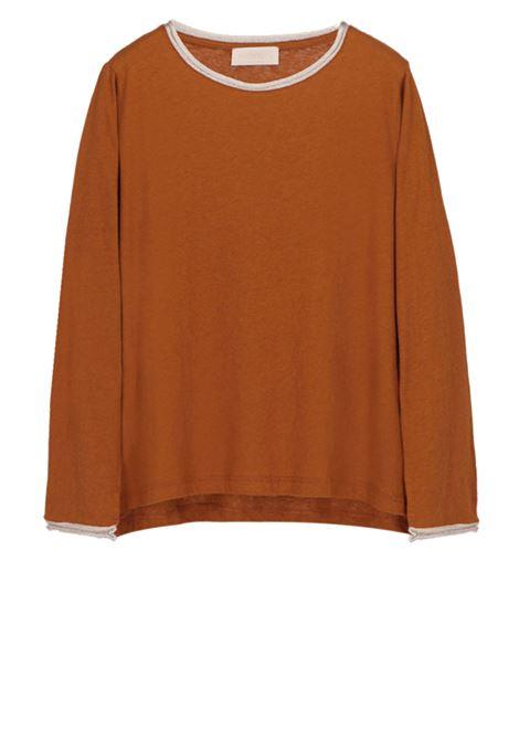 Long-sleeved t-shirt in linen cotton jersey MOMONI | T-shirts | MOTS010 35MO0640