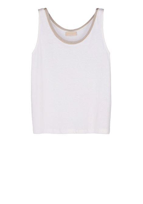 Canotta in jersey di cotone lino con bordo lurex MOMONI | T-shirt | MOTS012 35MO0020
