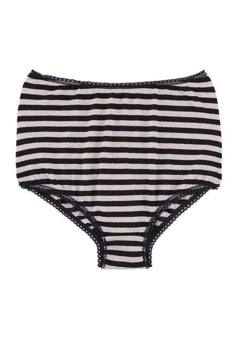 HIGH-WAISTED CULOTTE BRIEFS IN STRIPED JERSEY, BLACK MOMONI |  | MOUN011 33MO4204