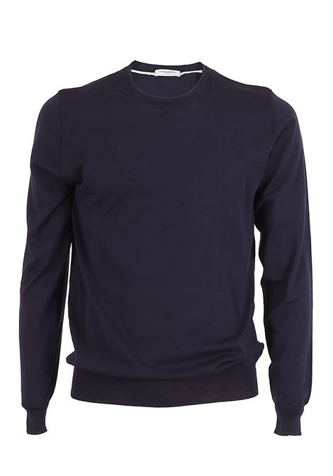 Solid color crew neck sweater - dark blue PAOLO PECORA | Sweaters | A001-F1006685