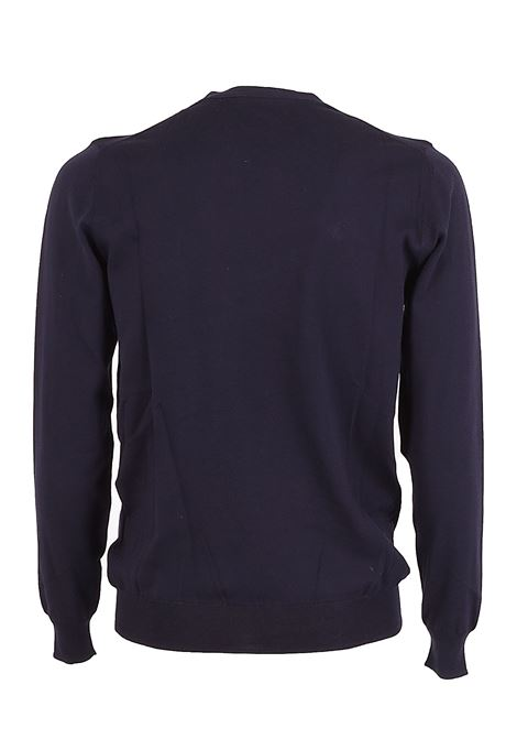 Solid color crew neck sweater - dark blue PAOLO PECORA | Knitwear | A001-F1006685