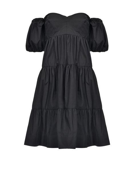 SHORT DRESS WITH FLOUNCES - BLACK PINKO | Dresses | 1B14FF-7977Z99