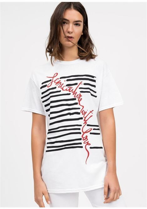 elora T-shirt in cotone con stampa - bianco SEMICOUTURE | Top & T-shirt | Y0SJ42A01-0